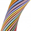 3d glossy twisted cable in multiple color on white — Stock Photo