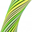 Stock Photo: 3d glossy twisted cable in green yellow on white