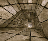 3d futuristic tiled mosaic labyrinth interior — Foto de Stock
