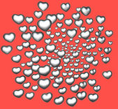 3d render silver chrome love heart on red — Stock Photo