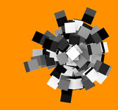 3d render silver chrome concentric cubes on orange — Stock Photo