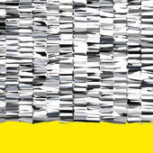 Fragmented abstract chrome silver 3d shape on yellow — Stock Photo