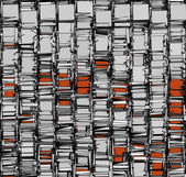Abstract fragmented backdrop pattern in chrome silver orange — Stock Photo