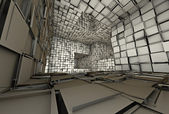 3d futuristic fragmented tiled mosaic labyrinth interior — Stock Photo