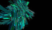 Abstract blue green shattered shape on black — Stock Photo