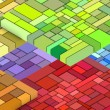 Stock Photo: 3d render of cubic shape in multiple rainbow color