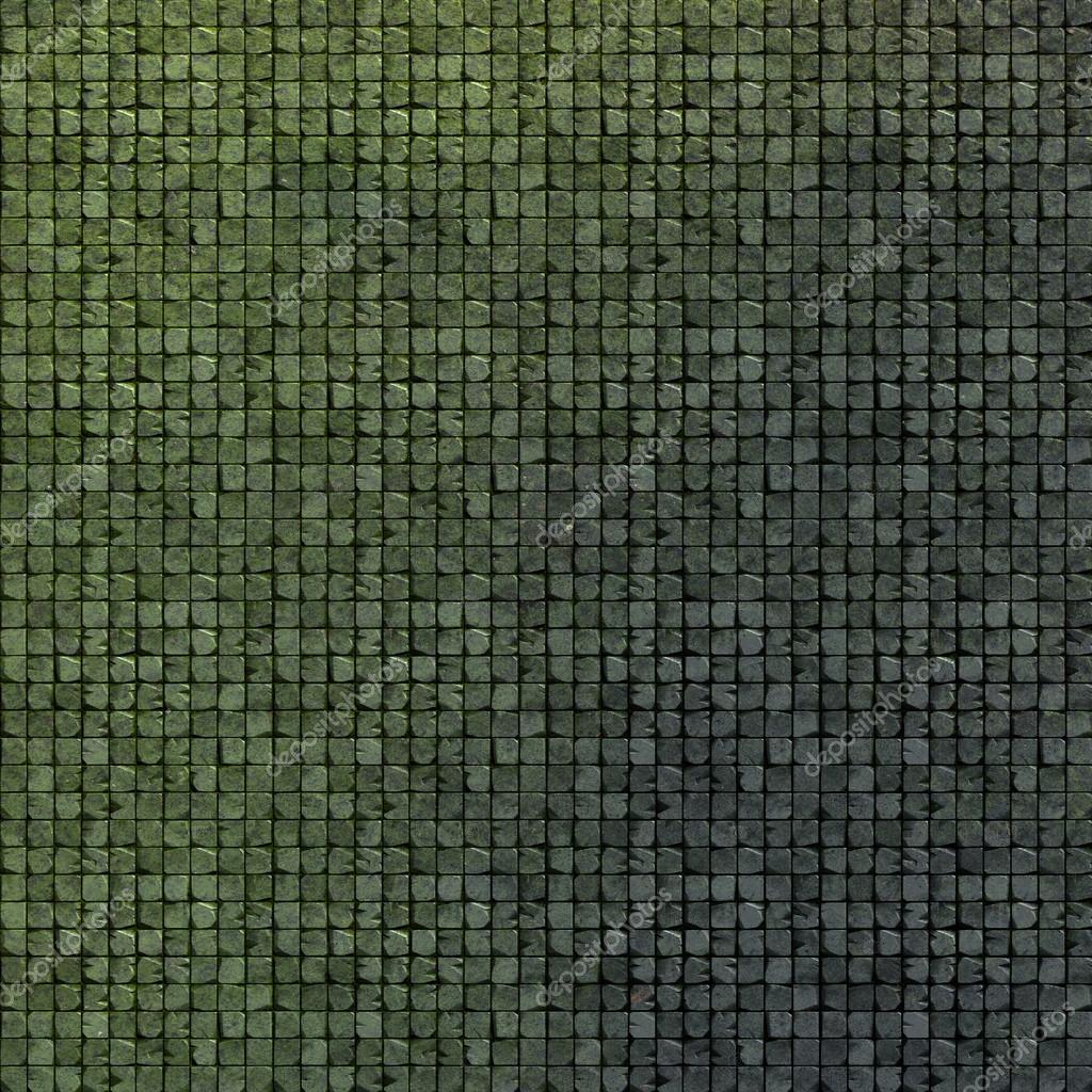 3d kakel mosaik vägg golv i grön grunge sten — stockfotografi ...