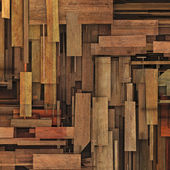 Abstract 3d render fragmented wood timber plank backdrop — Stock Photo
