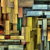 Abstract 3d render fragmented colored wood timber plank backdrop — Stock Photo