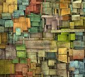 Fragmented multiple color square tile grunge pattern backdrop — Stock Photo