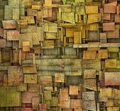 Fragmented orange,pink and yellow square tile grunge pattern bac — Stock Photo