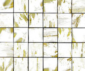 3d abstract graffiti white brush tile backdrop with yellow — Stock Photo