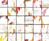 3d abstract graffiti white brush tile backdrop in multiple color — Stock Photo