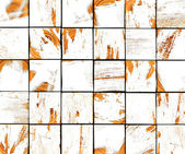 3d abstract graffiti white brush tile backdrop with orange — Stock Photo