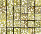 3d abstracto graffiti spray etiqueta fuente número telón de fondo amarillo — Foto de Stock