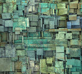 Fragmented blue green square tile grunge pattern backdrop — Stock Photo