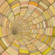 3d render tile tunnel pipes in multiple orange yellow - Stock Photo