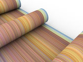 Rainbow color cylinder scroll shape on white — Stock Photo