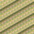 Fish scale diagonal tiled green yellow pink roll shape — Stok Fotoğraf #23458798