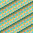 Fish scale diagonal tiled blue yellow pink roll shape — Stok Fotoğraf #23458844