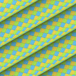 Fish scale diagonal tiled blue yellow green roll shape — Stok Fotoğraf #23458848
