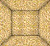 Orange yellow mosaic square tiled empty space — Stock Photo