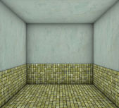 3d mosaic green yellow square tiled empty space — Stock Photo