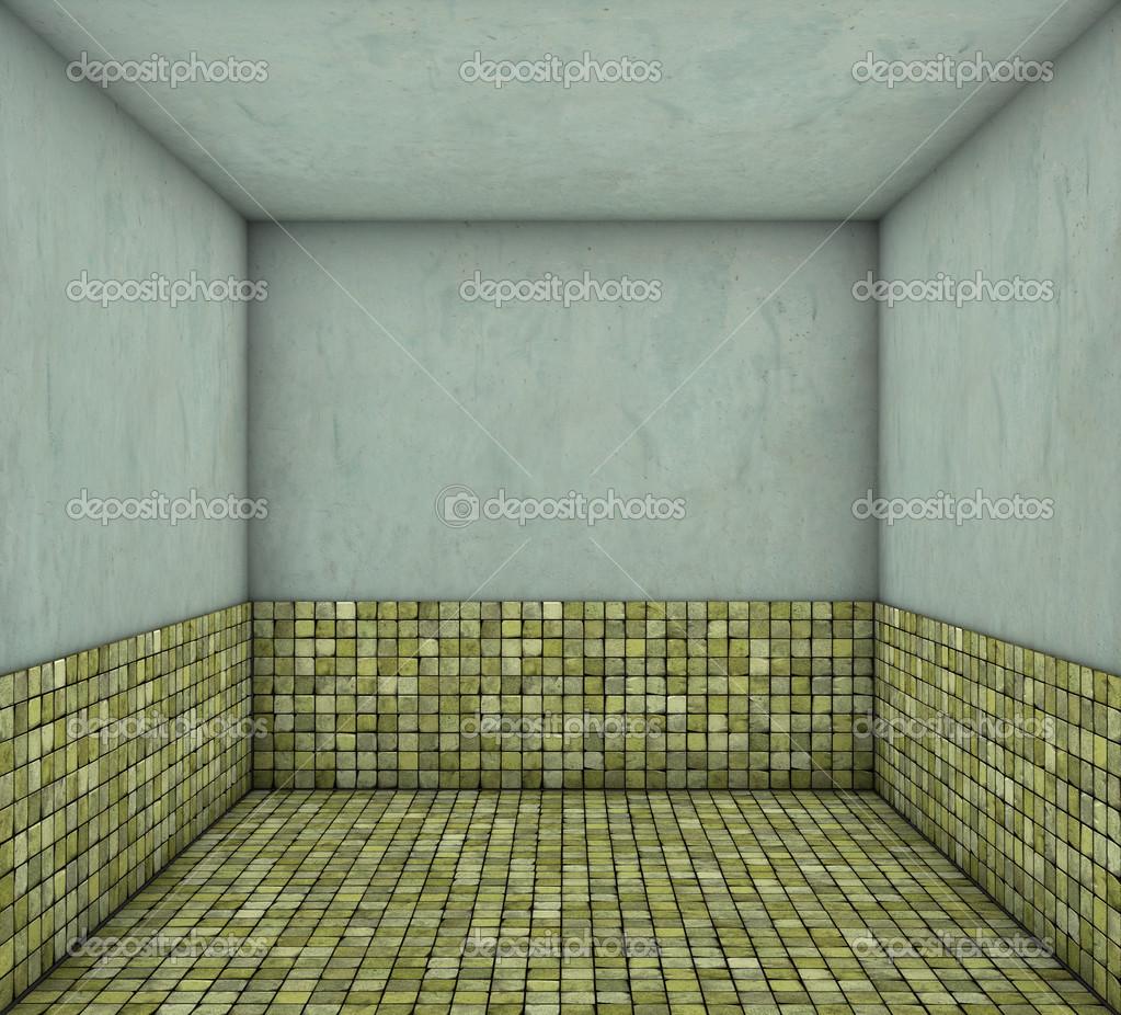 3 차원 모자이크 녹색 노란색 정사각형 타일 빈 공간 — 스톡 ...