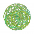 Abstract round glossy torus shape in mixed green on white — Stock Photo