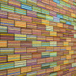 3d mosaic tile brick wall in rainbow stripe — Stock Photo