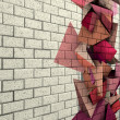 Stock Photo: 3d mosaic tile brick wall with pink fragmented shape