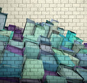 3d mosaic tile brick wall with cube fragmented pattern — Stock Photo