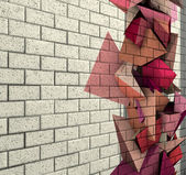 3d mosaic tile brick wall with pink fragmented shape — Stock Photo