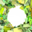 Abstract fragment green spiked shape on white — Stock Photo