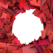 Abstract fragment red pink spiked shape on white — Stock Photo