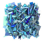 3d blue abstract shape fragmented backdrop — Stock Photo