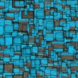 Grunge mosaic tile fragmented backdrop in blue — Stock Photo