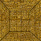 Tile mosaic empty space room in rust yellow — Stock Photo