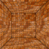 Grunge tile mosaic empty space room orange — Stock Photo