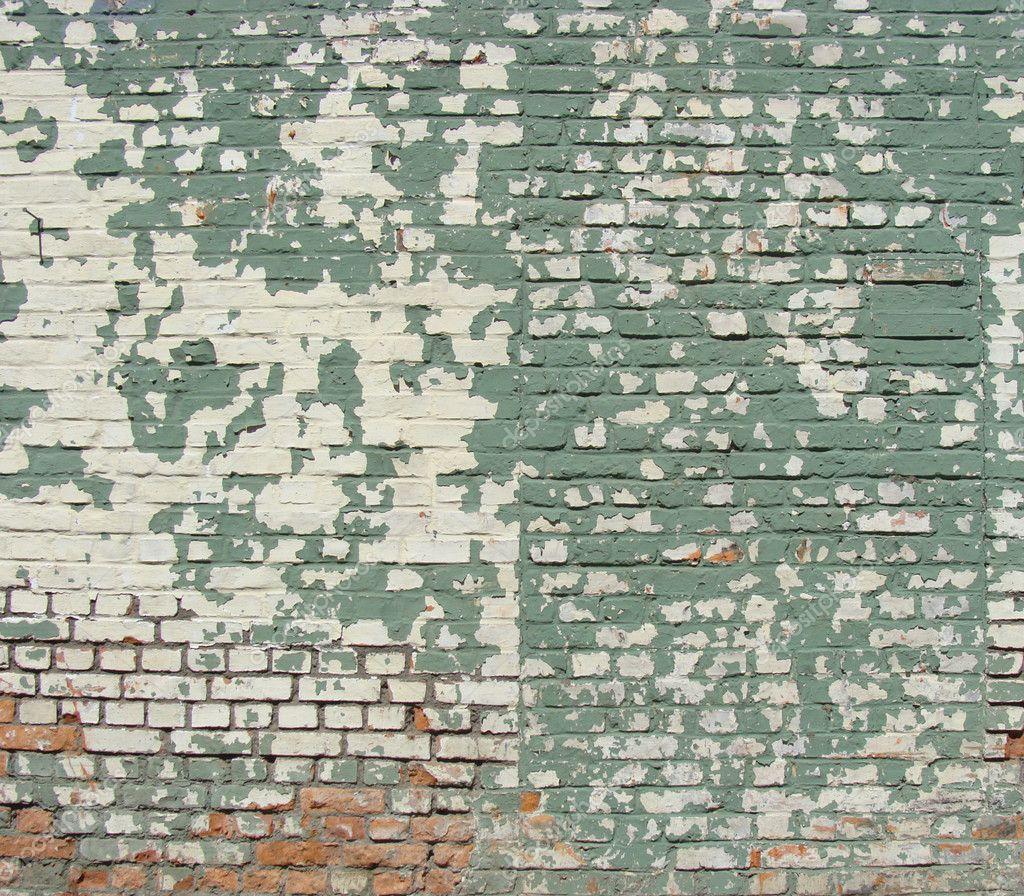 Damaged Worn Green White Painted Brick Wall Stock Photo