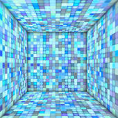 Mosaic square tiled empty space in multiple blue — 图库照片
