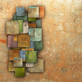 3d fragmented multiple color square tile grunge pattern backdrop — Stock Photo