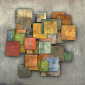 Fragmented multiple color square tile grunge pattern backdrop — Stock Photo