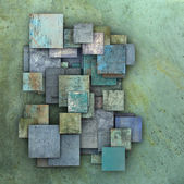 3d fragmented blue green square grunge tiles — Stock Photo
