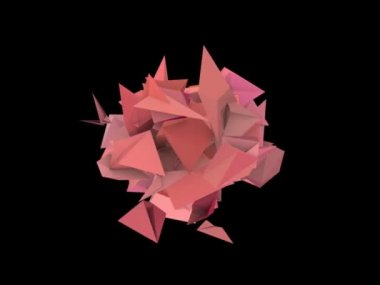 3d abstract red pink spiked shape on black — Wideo stockowe