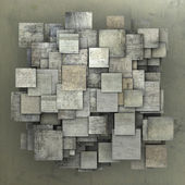 Fragmented gray square tile grunge pattern backdrop — Stock Photo