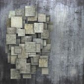 Fragmented gray square tile grunge pattern backdrop — Stock Photo