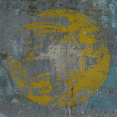 3d blue gray grunge wall with hidden yellow circle — Zdjęcie stockowe