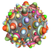 3d bubble ball in multiple bright colors on white — Zdjęcie stockowe