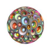3d techno ball in multiple bright colors on white — Foto Stock